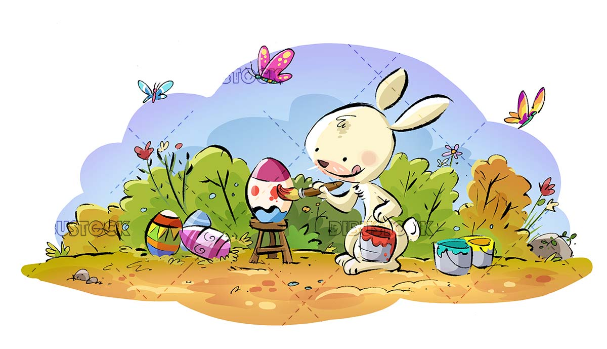 Easter bunny painting eggs in the field