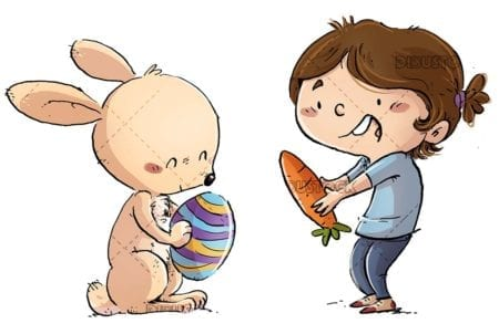 Easter girl and rabbit exchanging a carrot and an egg