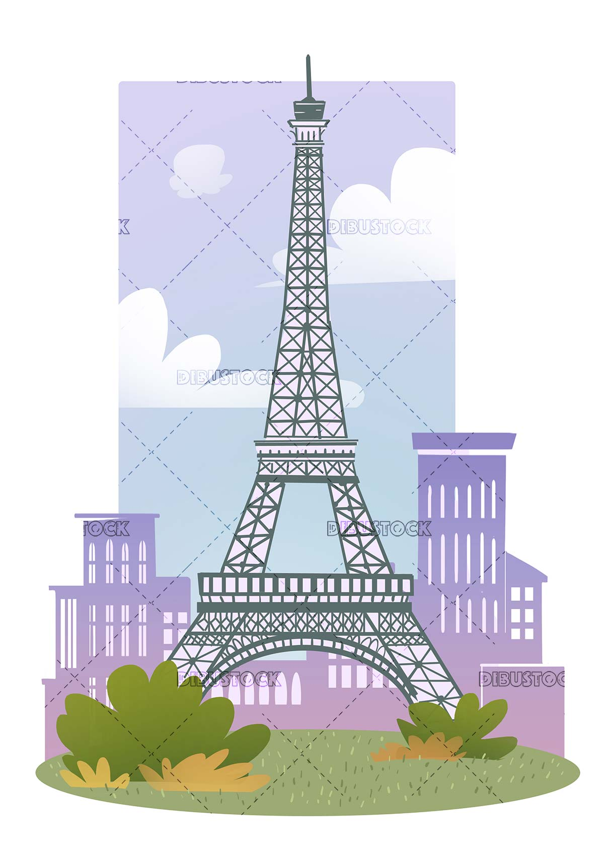 Eiffel Tower with buildings and sky in the background