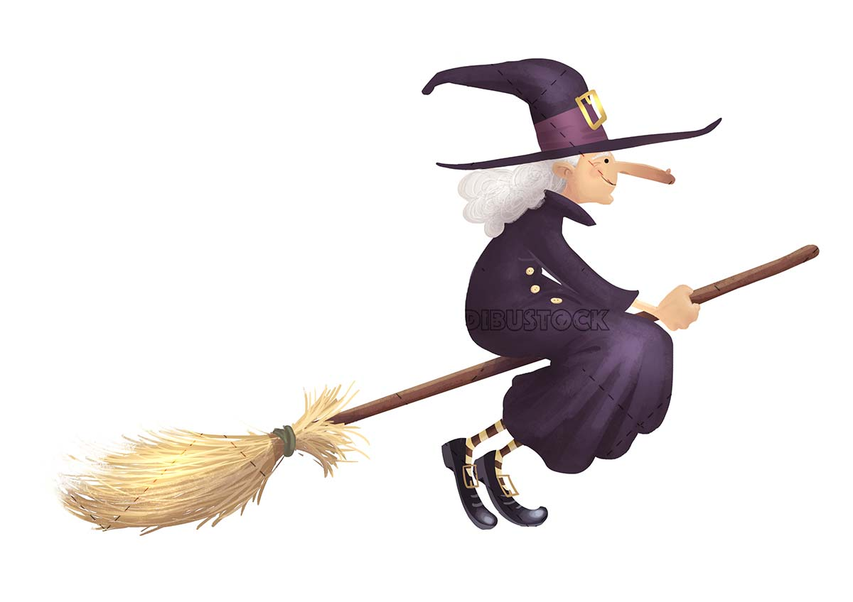 Elderly witch traveling on her magic broom
