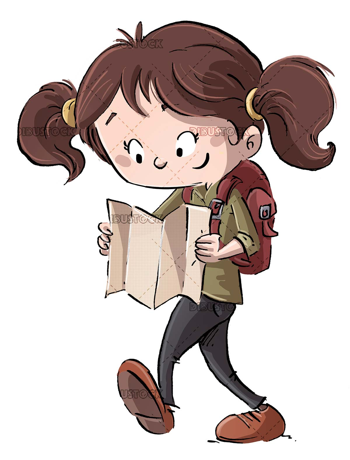 Explorer girl with backpack and map walking isolated