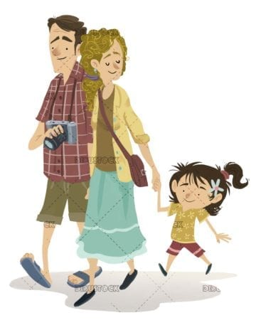 Family walking and sightseeing