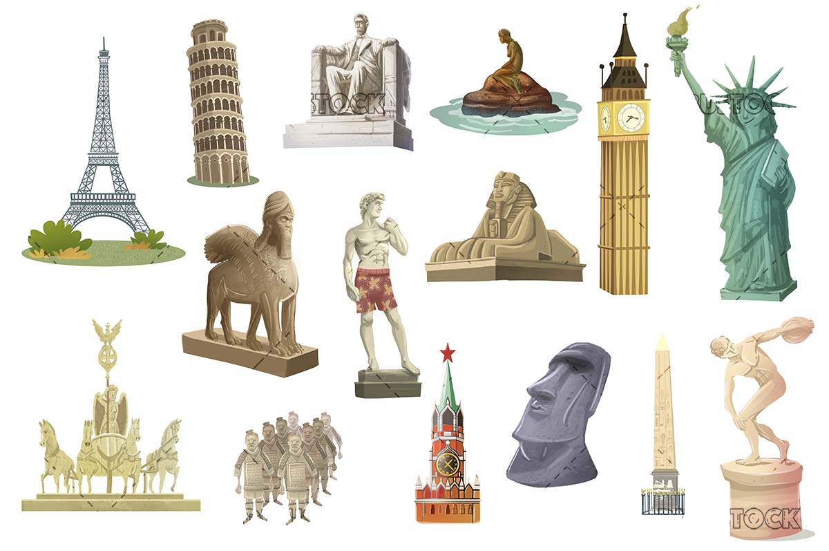 Famous monuments of the world on isolated background