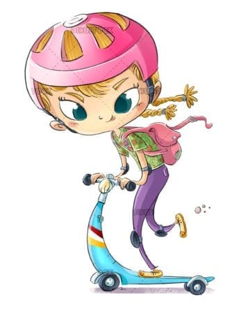 Fashionably dressed girl running with skate