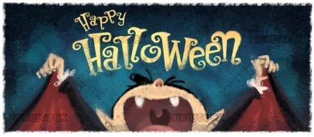 Funny classic vampire with halloween background