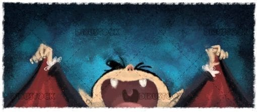Funny classic vampire with texture background