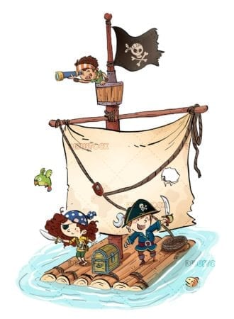 Funny pirate children on a sailboat by the sea