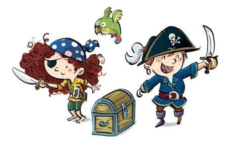 Funny pirate children with parrot isolated