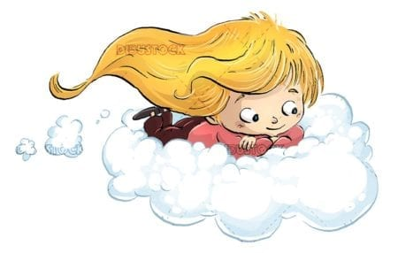 Girl flying over a cloud with isolated background