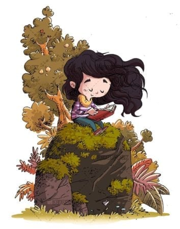 Girl sitting on a rock reading a concentrated book