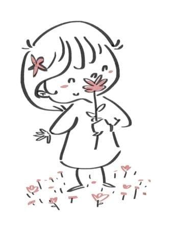 Girl smelling a flower. Black line