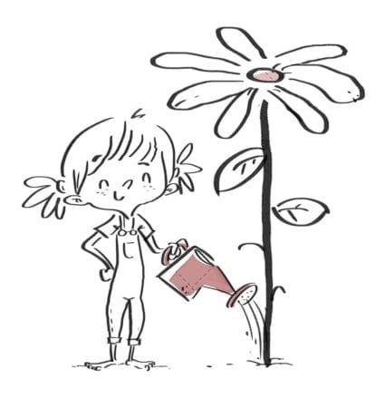 Girl watering a giant flower. Black line