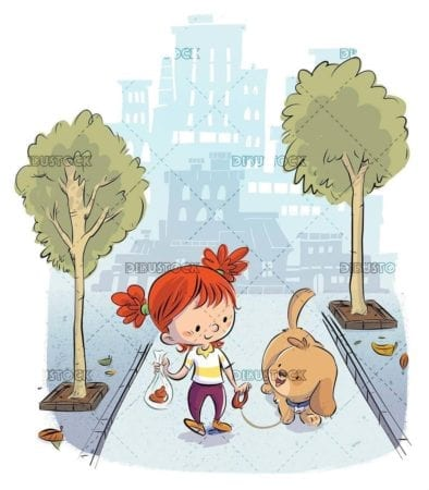 Girl with dog walking through the city collecting droppings in a bag