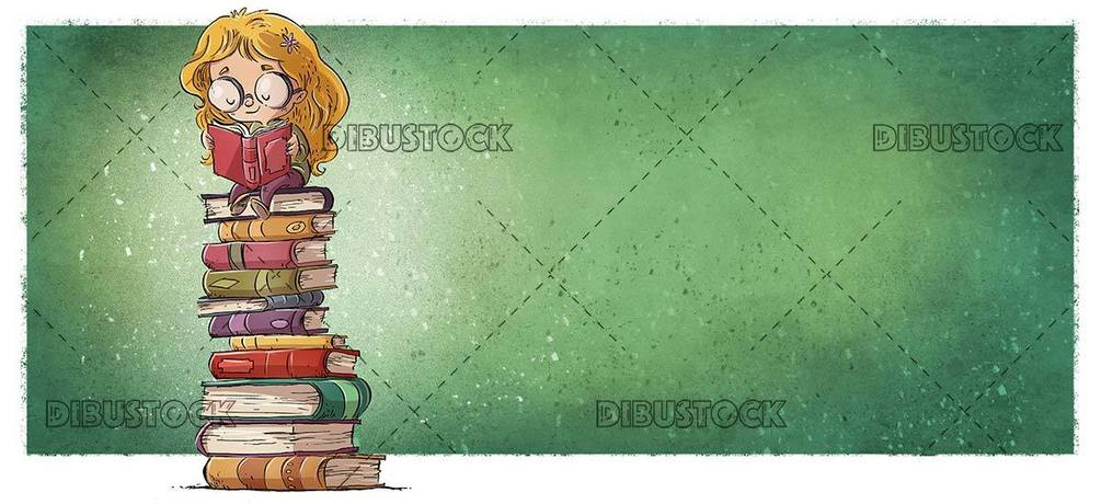 Girl with glasses sitting on books reading with green background
