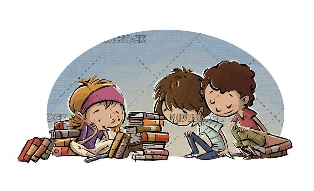 Group of children consulting books in the library