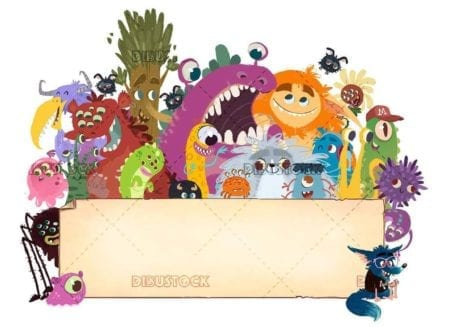 Group of funny monsters grabbing a banner