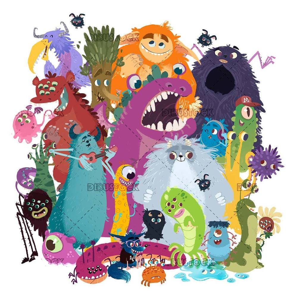 Group of funny monsters on white background