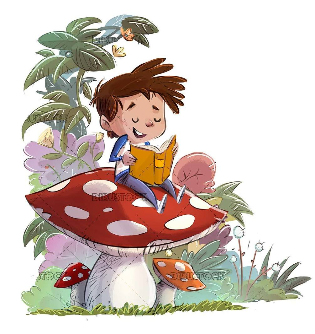 Happy boy sitting on top of a mushroom reading a book with plants in the background