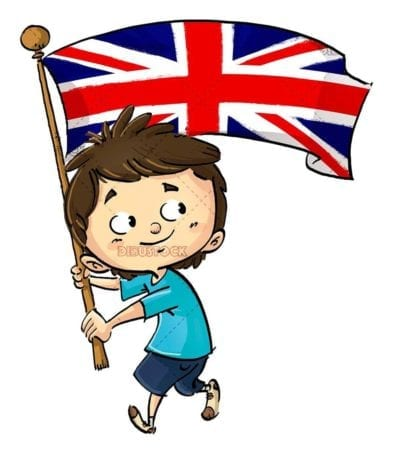 Happy boy with Great Britain flag with isolated background