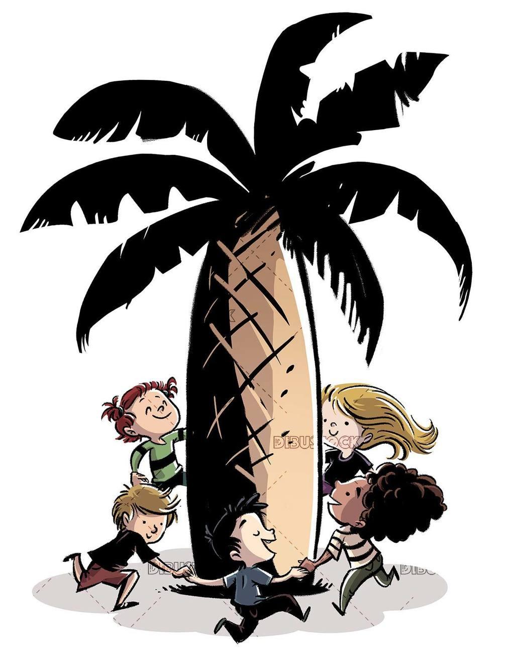 Happy children holding hands around a palm tree