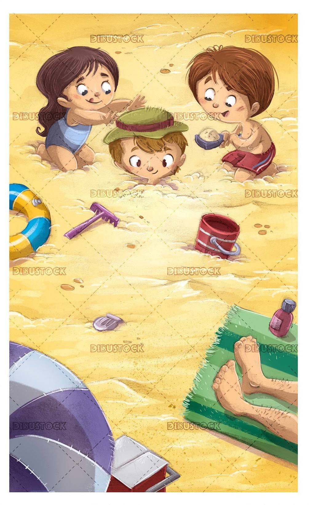 Happy children playing to bury themselves in the sand on the beach