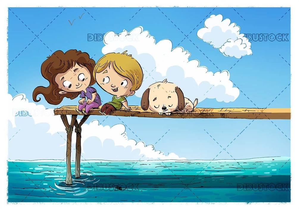 Happy children with dog sitting on a pier at the sea