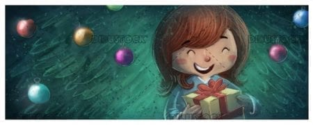 Happy girl face with gift box and Christmas tree background