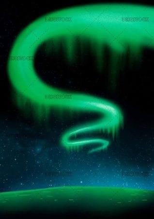 Illustration of aurora borealis at night