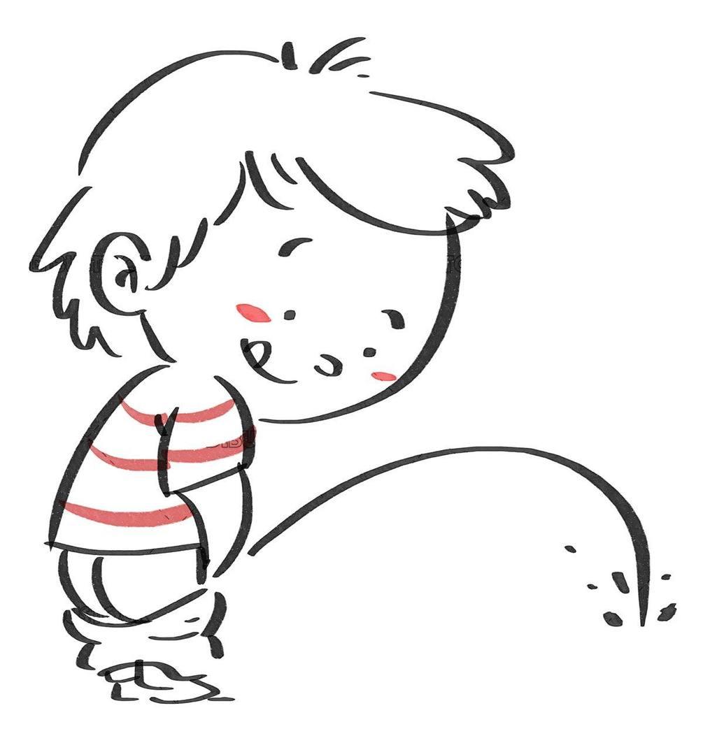 Kid peeing. Black line