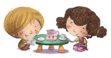 Kids playing drinking tea with texture background