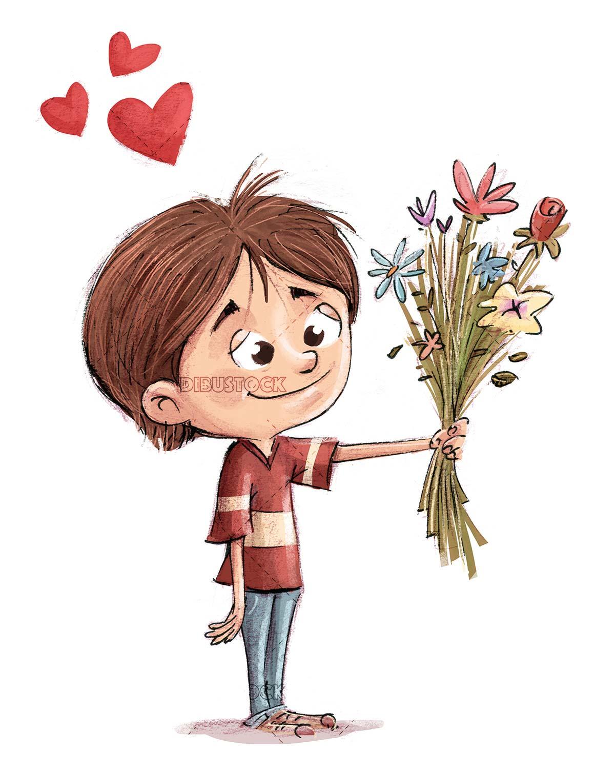 boy in love offering a bouquet of flowers