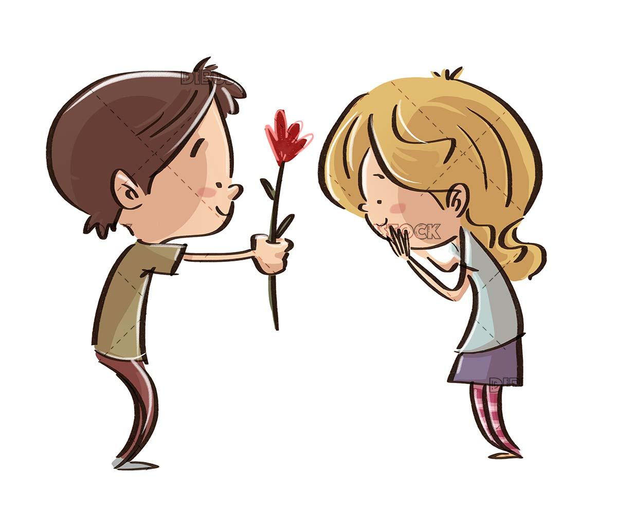 boy in love offering a flower to a girl with isolated background
