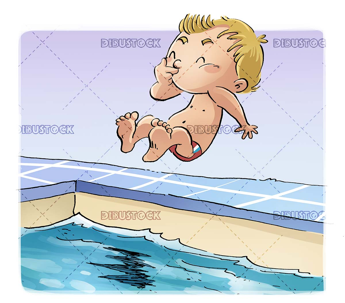 boy jumping into the water of a pool