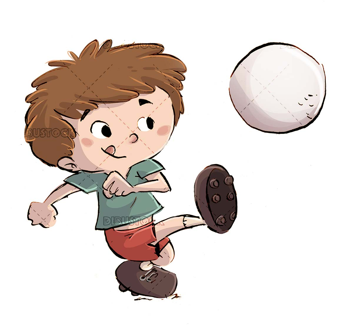 boy kicking a soccer ball with isolated background