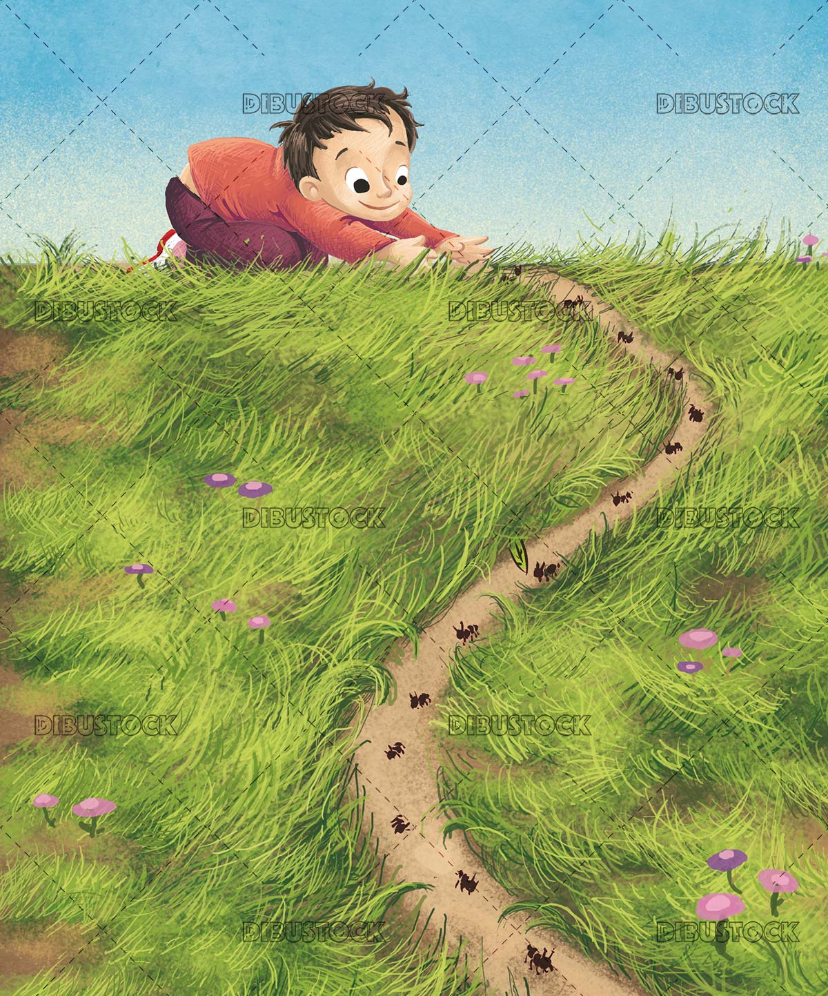 boy looking at a path of ants