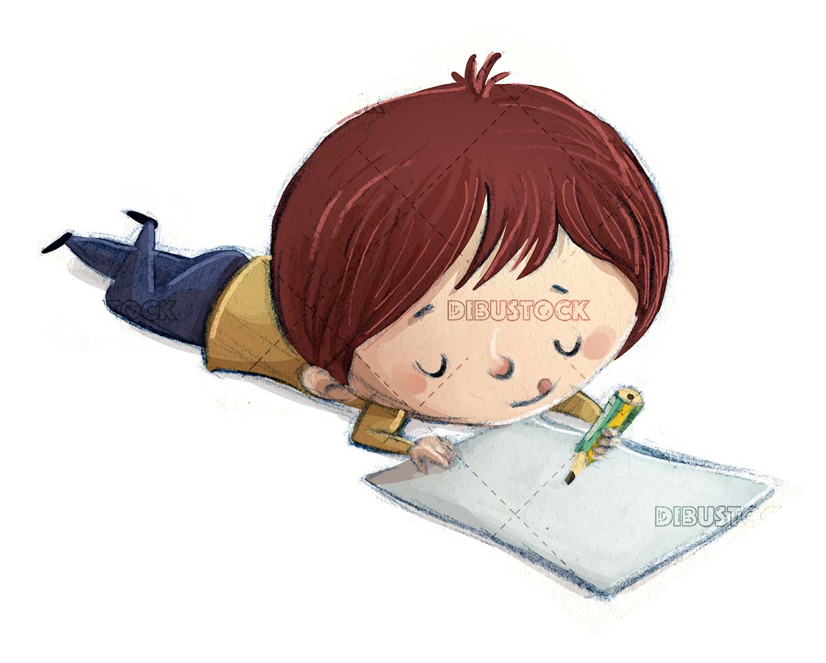 boy lying on the floor with pencil and paper on isolated background