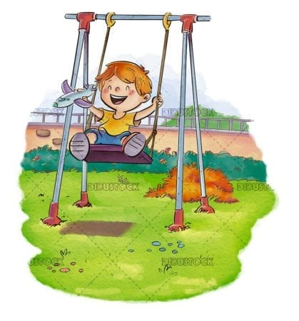 boy on a swing in the garden