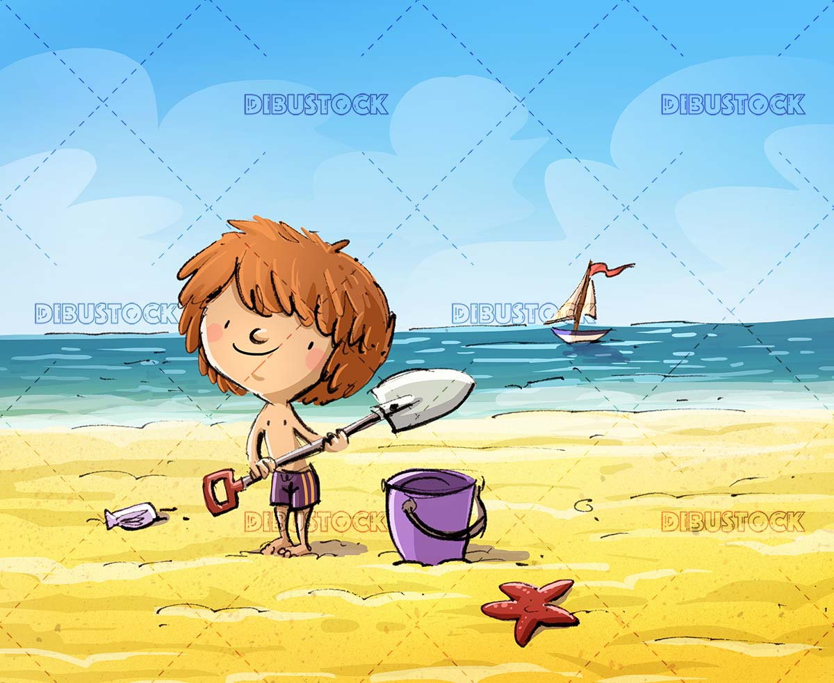 boy on the beach with his shovel with the sea in the background