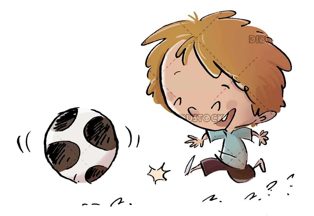 boy playing with ball with isolated background