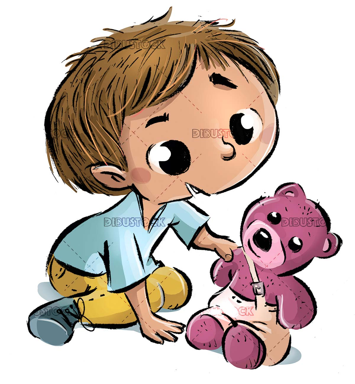 boy playing with his teddy bear