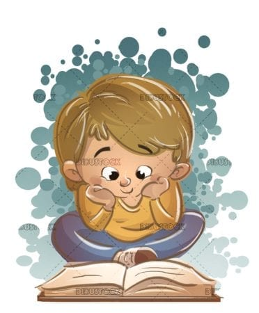 boy reading attentively a book sitting