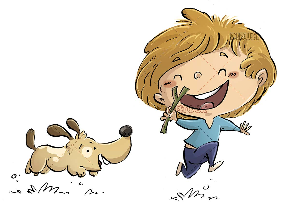 boy running and playing with his dog