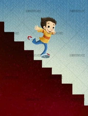 boy running down some stairs