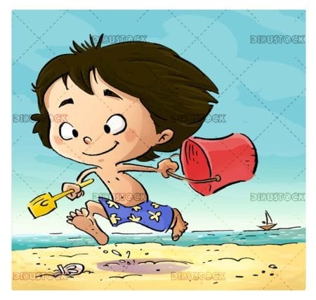 boy running happy on the beach with his bucket and his shovel