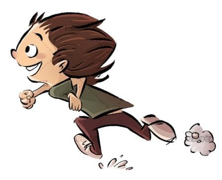 boy running in a hurry on white background