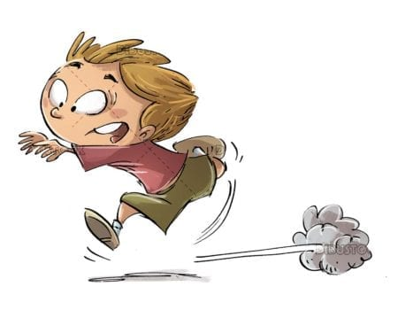 boy running in a hurry with fear