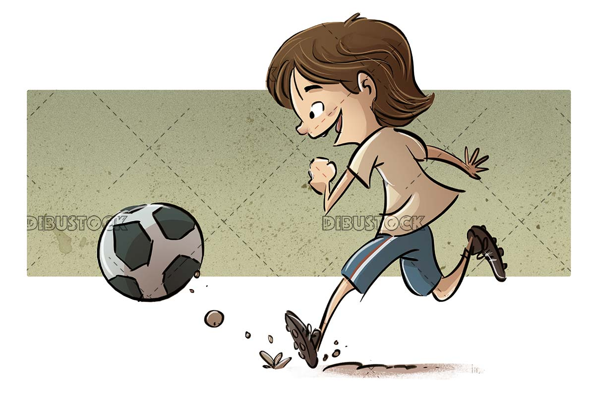 boy running in profile with ball