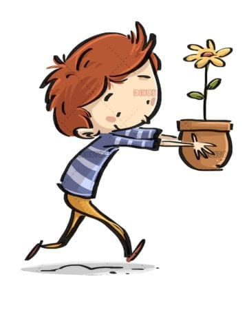 boy running with a flowerpot in his hands