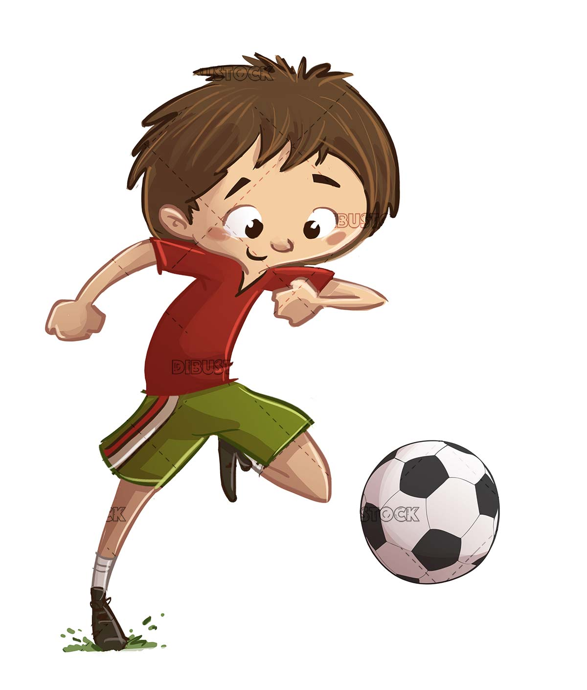 boy running with soccer ball on his feet