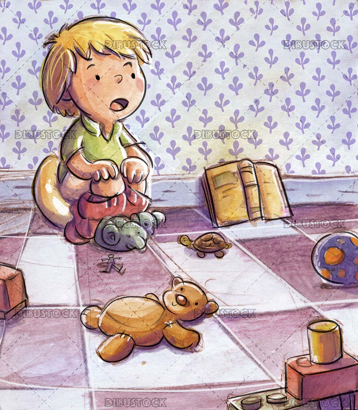 boy sitting in a potty surrounded by toys